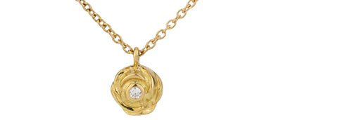 """Rose"" necklace. Gold and diamond"