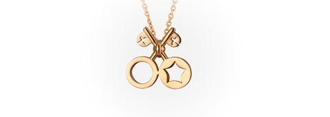 Colar Keys of Heaven and Earth Necklace. Ouro amarelo
