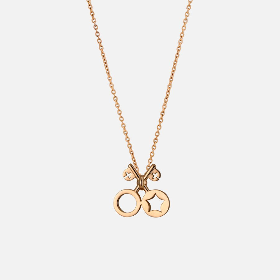 Keys of Heaven and Earth Necklace. Yellow gold
