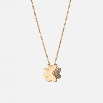 Four-leaf Clover Necklace. Yellow gold and diamonds